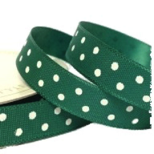 Green Polka Dot Ribbon - 10mm Wide - Miss Pretty London UK Limited