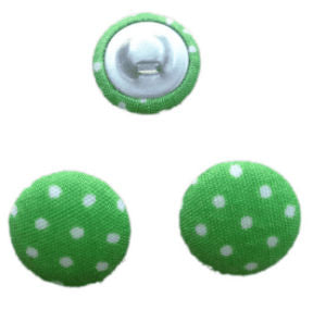 Green Polka Dot Fabric Craft Buttons - Pack of 3