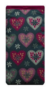 Grey and Pink Hearts Print Mobile Phone Sock Pouch