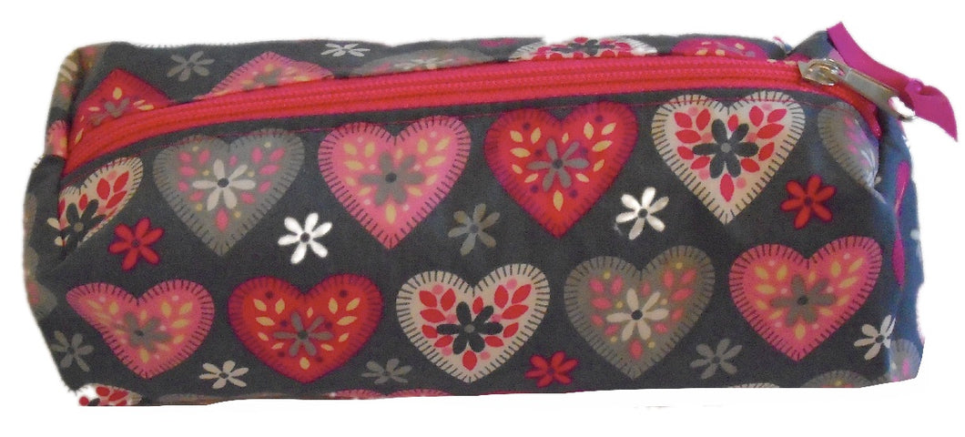 Pink and Grey Hearts Print Pencil Case