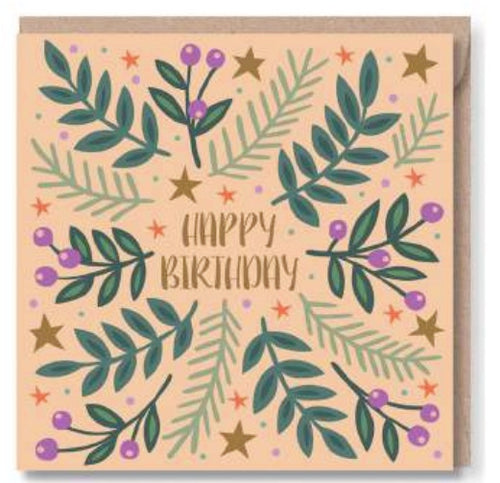 Peach Happy Birthday Greeting Card