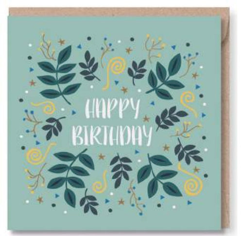 Teal Happy Birthday Greeting Card