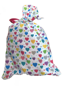 Multicoloured Hearts Print Drawstring Toiletry Bag