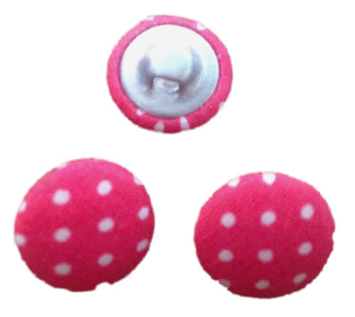 Cerise Pink Polka Dot Fabric Craft Buttons - Pack of 3