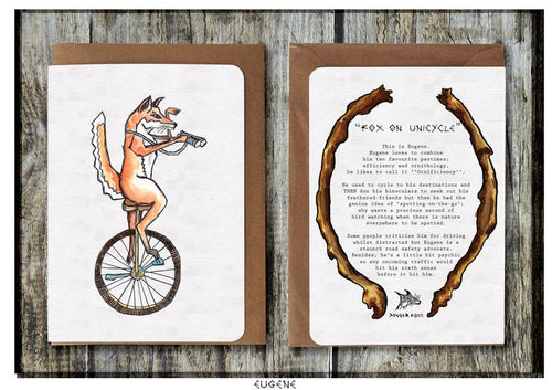 Fox on Unicycle Greeting Card - Miss Pretty London UK Limited