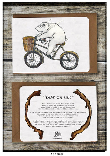 Bear on Bike Greeting Card