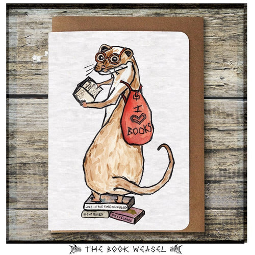 Book Weasel Greeting Card - Miss Pretty London UK Limited