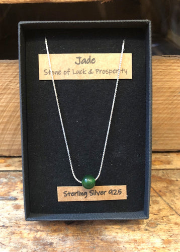 Green Jade Gemstone and Sterling Silver Necklace