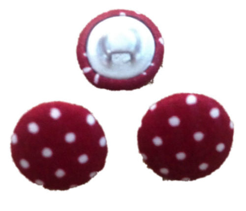 Maroon Polka Dot Fabric Craft Buttons - Pack of 3