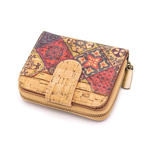 Natural Cork Vegan Friendly Card and Coin Zipper Purse - Mandela Print - Miss Pretty London UK Limited