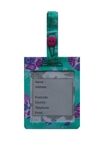 Mint and Plum Birds Print Luggage Identity Bag Tag