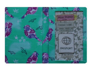 Mint and Plum Birds Print Passport Wallet