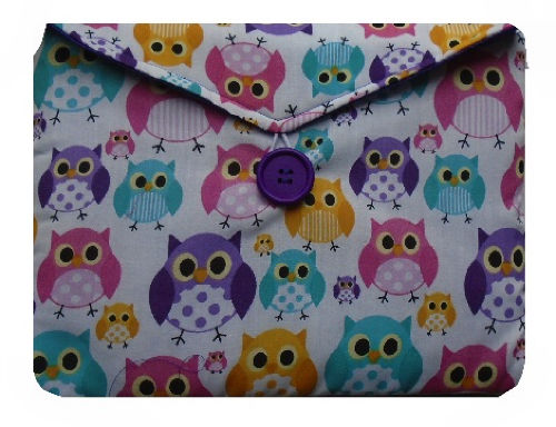 Multicoloured Owls Print Tablet Bag