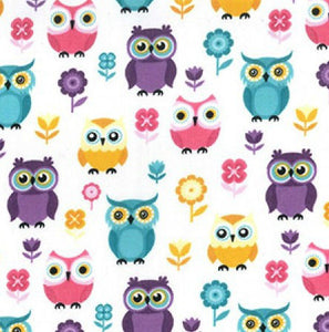 Multicoloured_Owl_Print_PolyCotton_Fabric