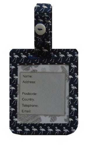 Navy Flamingo Print Luggage Identity Bag Tag