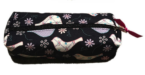 Navy Floral Doves Print Pencil Case