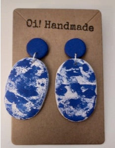 Handmade Polymer Clay Stone Blue Earrings - Miss Pretty London UK Limited