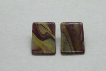 Handmade Polymer Clay Stone Square Earrings