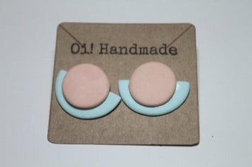 Handmade Polymer Clay Pale Pink & Blue Earrings