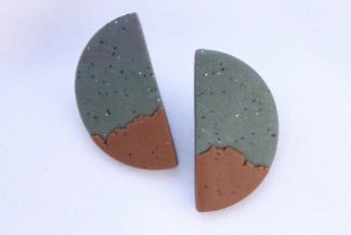 Handmade Polymer Retro Sand Colour Half Moon Earrings