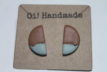 Handmade Polymer Clay Retro Stone Colour Half Moon Earrings