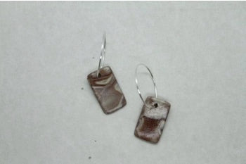 Handmade Polymer Clay Retro Stone Colour Square Earrings