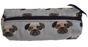 Pale Blue Pugs Print Pencil Case