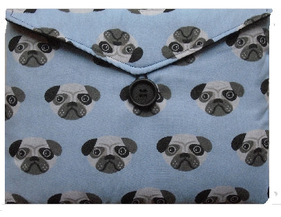 Pale Blue Pugs Print Tablet Bag