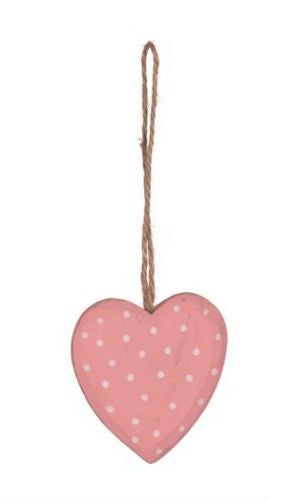 Pink Wooden Hanging Heart Decoration - Miss Pretty London UK Limited