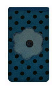 Light_Blue_Polka_Dot_Print_Mobile_Phone_Sock_Pouch