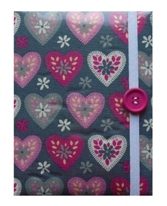 Grey and Pink Hearts Print E-Reader Case