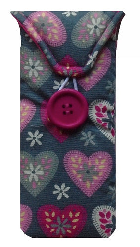 Grey and Pink Hearts Print Glasses Case - Miss Pretty London UK Limited