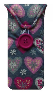 Grey and Pink Hearts Print Glasses Case