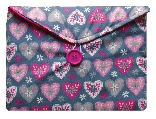 Grey and Pink Hearts Print Tablet Bag