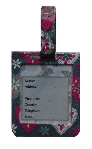 Grey and Pink Hearts Luggage Identity Bag Tag