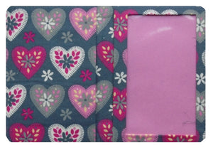 Grey and Pink Hearts Print Passport Cover