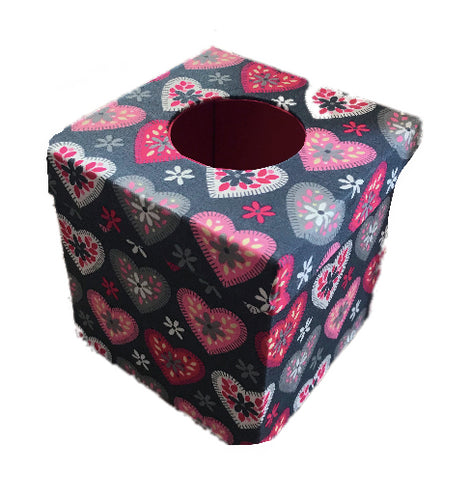 Grey and Pink Hearts Print Tissue Box