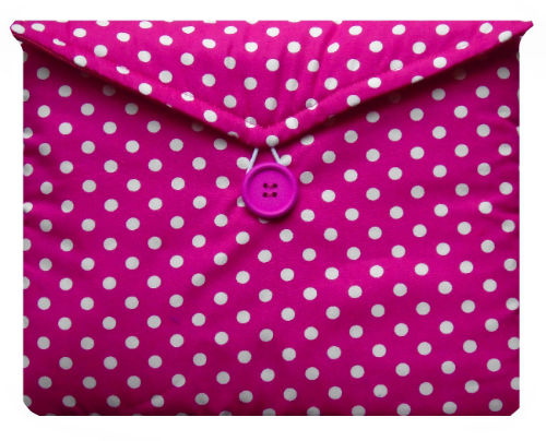 Pink and White Polka Dot Print Tablet Bag