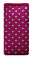 Pink and White Polka Dot Print Mobile Phone Sock Pouch