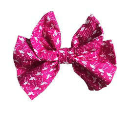 Pink Flamingo Cotton Hair Bow Clip