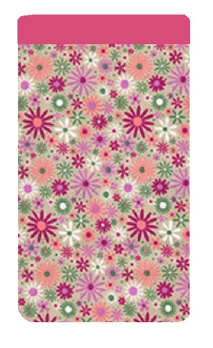 Pink Retro Daisy Print Mobile Phone Sock Pouch