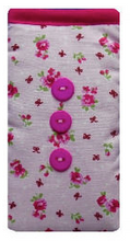 Load image into Gallery viewer, Pink Vintage Flowers Print Mobile Phone Sock Pouch - Miss Pretty London UK Limited