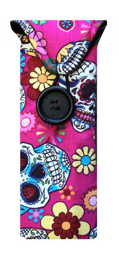 Pink Mexican Skulls Print Glasses Case - Miss Pretty London UK Limited