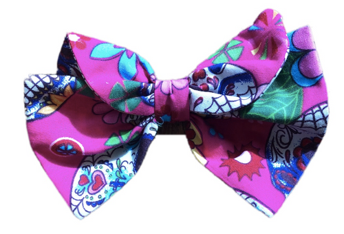 Pink Sugar Skulls Print Cotton Hair Bow Clip