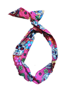 Pink Mexican Sugar Skulls Print Wire Headband