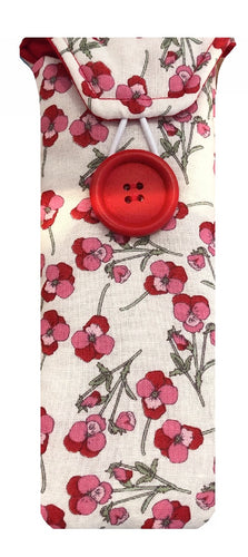 Pink Poppy Print Glasses Case - Miss Pretty London UK Limited