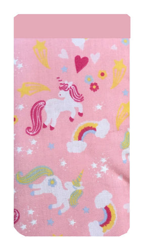 Pink Unicorn Print Mobile Phone Sock Pouch