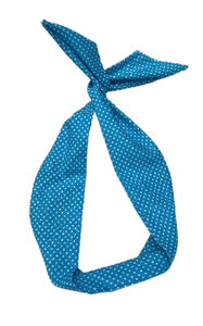 Powder Blue Polka Dot Print Wire Headband