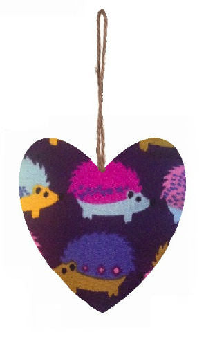 Purple_Hedgehogs_Print_Plump_Fabric_Hanging_Heart