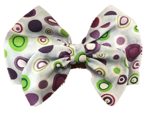 Purple Geometric Print Cotton Hair Bow Clip